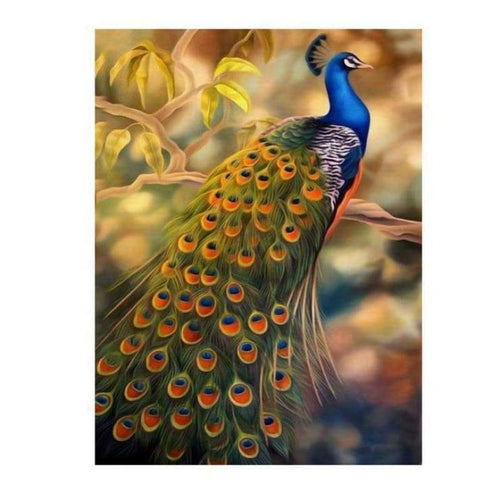 Full Drill - 5D DIY Diamond Painting Kits Fantastic Beautiful Gold Blue Peacock - NEEDLEWORK KITS
