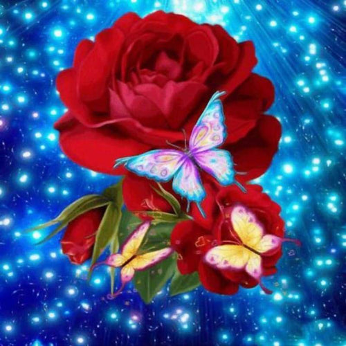 5D DIY Diamond Painting Kits Fantastic Beautiful Butterfly Red Rose