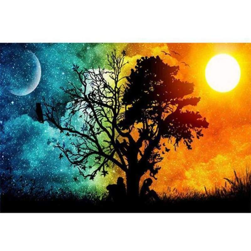 Full Drill - 5D DIY Diamond Painting Kits Sun and Moon Romantic love Tree - NEEDLEWORK KITS