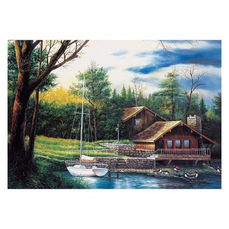 Full Drill - 5D DIY Diamond Painting Kits Cartoon Beautiful Cottage By the Lake