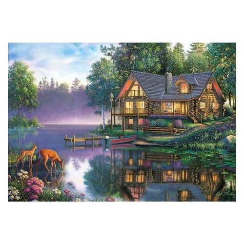 Full Drill - 5D DIY Diamond Painting Kits Cartoon Beautiful Cottage By the Lake - NEEDLEWORK KITS