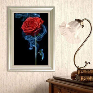 5D DIY Diamond Painting Kits Romantic Red Roses Blue Smoke - 5