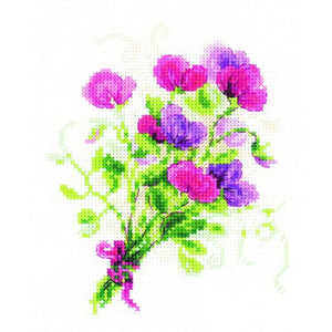 Bouquet With Sweet Peas - Cross Stitch