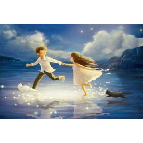 5D DIY Diamond Painting Kits Fantasy Boy And Girl Running on the Lake - 4