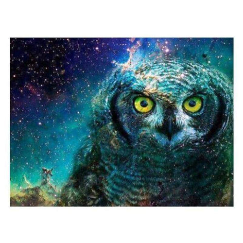 5D DIY Diamond Painting Kits Fantasy Cool Blue Owl Starry Sky - 4