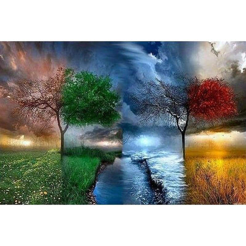 5D DIY Diamond Painting Kits Fantasy Four Seasons Tree Sky - 5