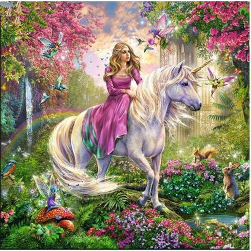 Full Drill - 5D DIY Diamond Painting Kits Fantasy Dream Unicorn And Girl - NEEDLEWORK KITS