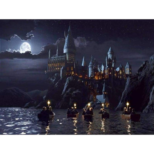 Full Drill - 5D DIY Diamond Painting Kits Fantasy Magic School Castle Night Scene - NEEDLEWORK KITS