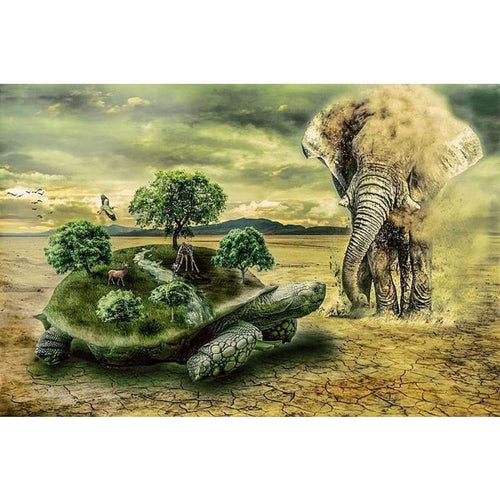 5D DIY Diamond Painting Kits Fantasy Turtle Forest and Elephant Dessert - 5