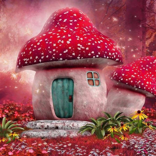 5D DIY Diamond Painting Kits Fantasy Special Magic Forest Mushroom House