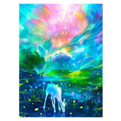 Full Drill - 5D DIY Diamond Painting Kits Fantasy Colorful Castle and Deer - NEEDLEWORK KITS