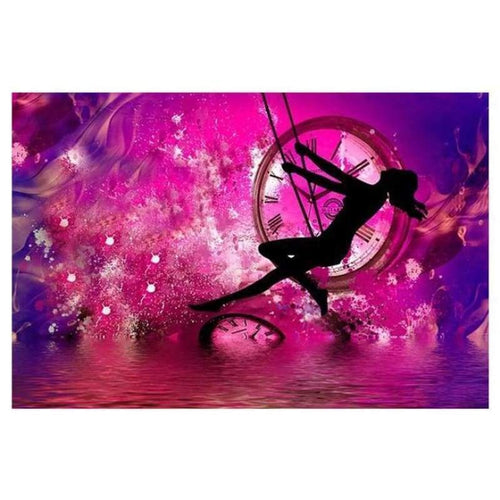 5D DIY Diamond Painting Kits Fantasy Pink Clock Girl SwIng - 5