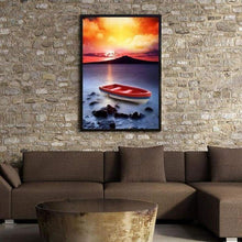 Load image into Gallery viewer, 5D DIY Diamond Painting Kits Cartoon Sunset Fantasy Boat Seaside - 4