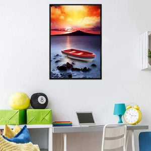 5D DIY Diamond Painting Kits Cartoon Sunset Fantasy Boat Seaside - 4