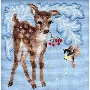 Fawn In The Snow - Cross Stitch