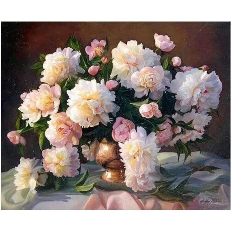 5D DIY Diamond Painting Kits Peony Flowers in Vase - 3