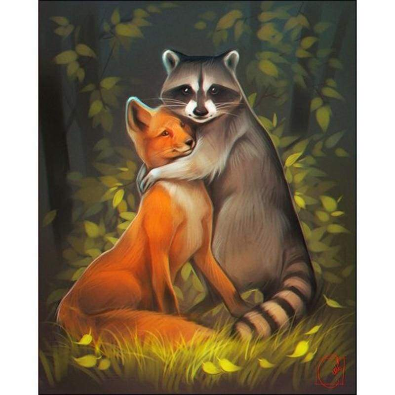 5D DIY Diamond Painting Kits Cartoon Fox & Raccoon Love - Z3