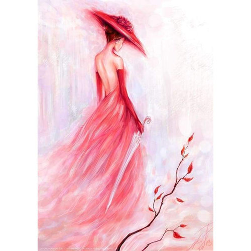Full Drill - 5D DIY Diamond Painting Kits Watercolor Plum Girl - NEEDLEWORK KITS