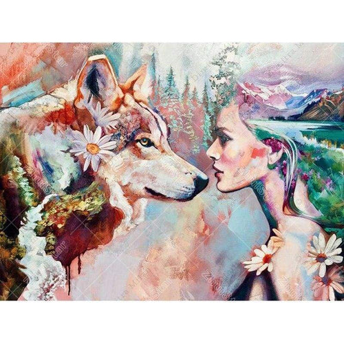 5D DIY Diamond Painting Kits Colorful Different Wolf Girl Scenic - Z5