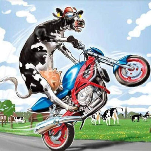 5D DIY Diamond Painting Kits Cartoon Funny Cow Driving Motorcycle