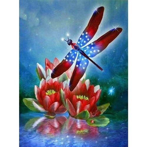 Full Drill - 5D DIY Diamond Painting Kits Different Color Dragonfly Lotus - NEEDLEWORK KITS