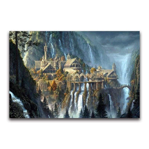 5D DIY Diamond Painting Kits Dream Mysterious Castle Waterfall - 5