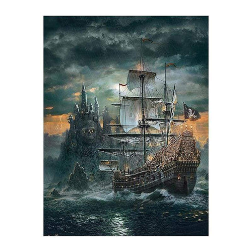 Full Drill - 5D DIY Diamond Painting Kits Dream Castle Ship in the Sea - NEEDLEWORK KITS