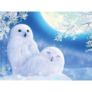 Full Drill - 5D DIY Diamond Painting Kits Special Winter Moon Owl Couple - NEEDLEWORK KITS