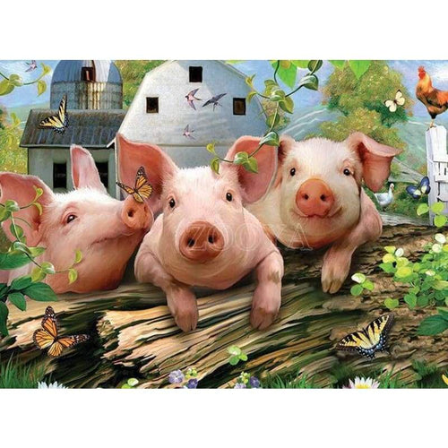Full Drill - 5D DIY Diamond Painting Kits Funny Cartoon Farm Pigs - NEEDLEWORK KITS