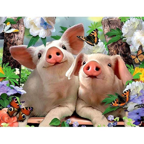 Full Drill - 5D DIY Diamond Painting Kits Funny Cartoon Pigs Butterfly Flowers - NEEDLEWORK KITS