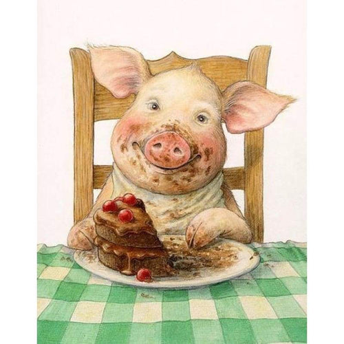 Full Drill - 5D DIY Diamond Painting Kits Funny Cartoon Pig Eating Cake - NEEDLEWORK KITS