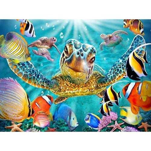 5D DIY Diamond Painting Kits Funny Turtle Fish in the Sea - 2