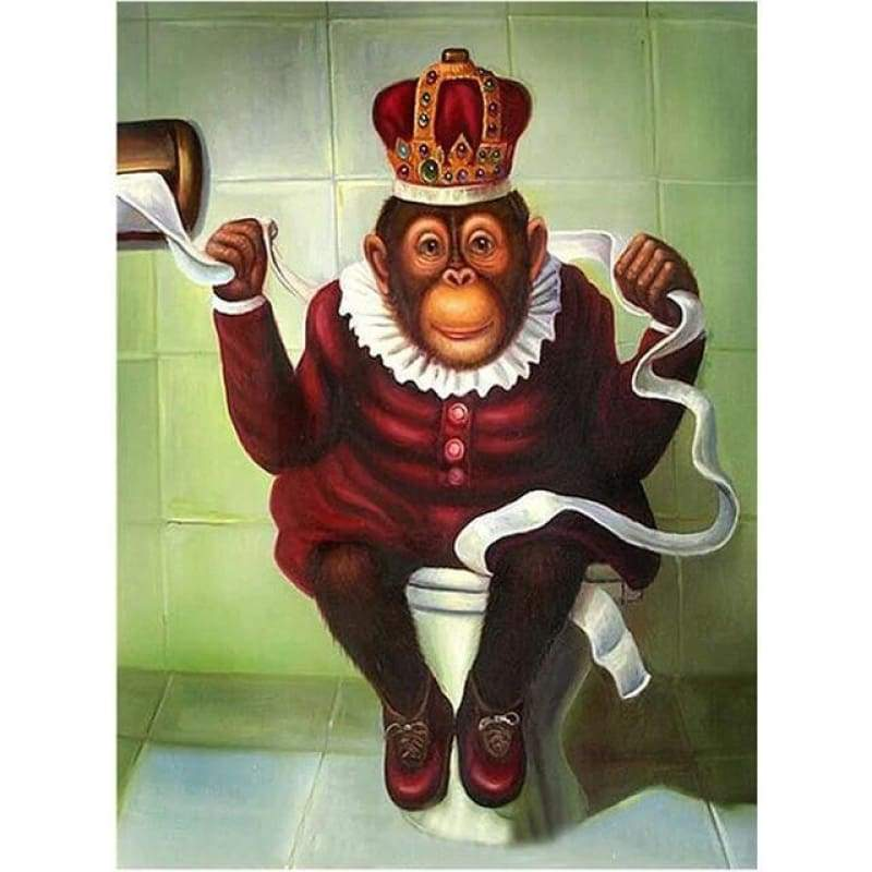 5D DIY Diamond Painting Kits Cartoon Funny Toilet Monkey - 3