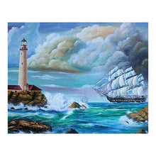 Load image into Gallery viewer, 5D DIY Diamond Painting Kits Cartoon Lighthouse Sea Wave - 2