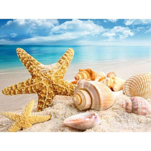 Full Drill - 5D DIY Diamond Painting Kits Shell Starfish Beach - NEEDLEWORK KITS