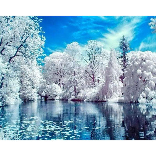 5D DIY Diamond Painting Kits Winter Lake Snow Scenic Forest - Z3