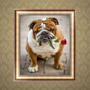 Full Drill - 5D DIY Diamond Painting Kits Cute Pet Dog Flower For Love - NEEDLEWORK KITS