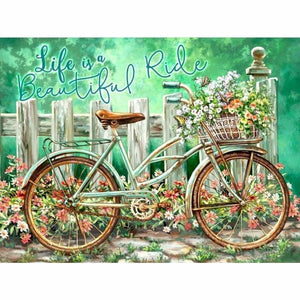 Full Drill - 5D DIY Diamond Painting Kits Cartoon Bicycle Flowers