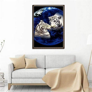 5D DIY Diamond Painting Kits Cartoon Dream Animal Loving Tigers - 4