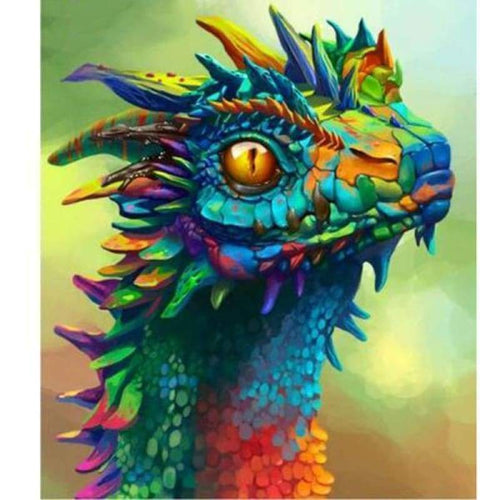 5D DIY Diamond Painting Kits Dream Colorful Cartoon Dragon Head - 3
