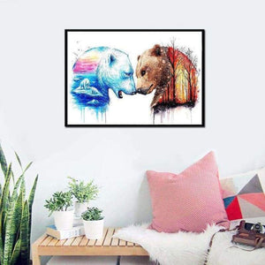 Full Drill - 5D DIY Diamond Painting Kits Dream Colorful Autumn and Winter Bears - NEEDLEWORK KITS