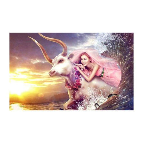 5D DIY Diamond Painting Kits Beautiful Fantasy Beauty And The Cow in Wave - 4