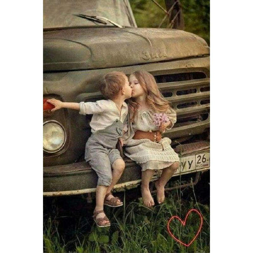 5D DIY Diamond Painting Kits Cute Kissing Boy And Girl - 5