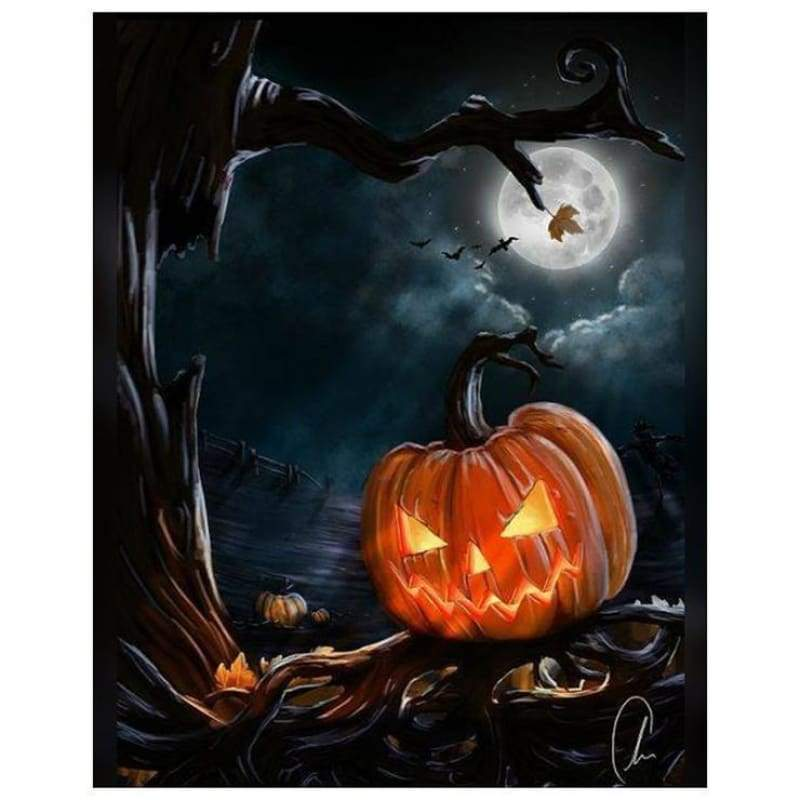 5D DIY Diamond Painting Kits Cartoon Halloween Pumpkin Lamp - 3