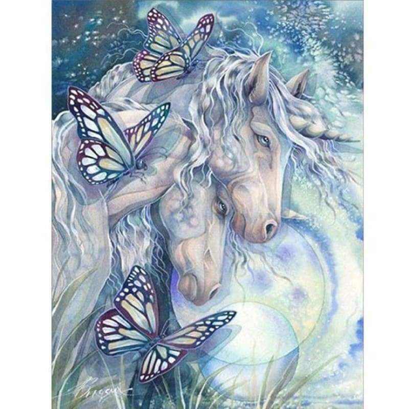 5D DIY Diamond Painting Kits Cartoon Loving Romantic Horses Butterfly - 3