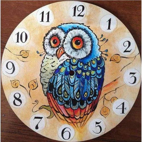 5D DIY Diamond Painting Kits Cartoon Owl Clock