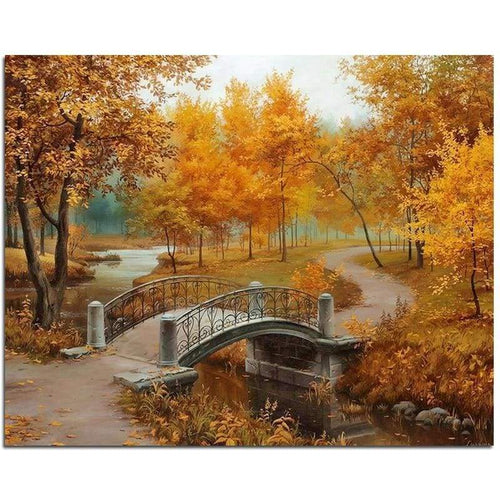 5D DIY Diamond Painting Kits Tranquil Autumn Forest Bridge - 3