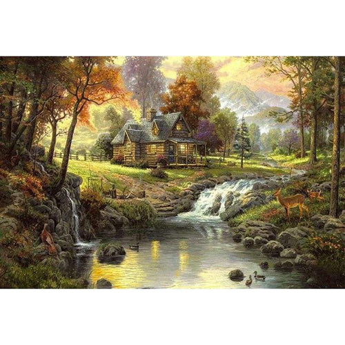 5D DIY Diamond Painting Kits Dream House Lake in the Forest - Z3
