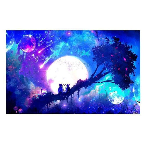 5D DIY Diamond Painting Kits Fantasy Pretty Moon Sky Cats on the Tree Scene - 5
