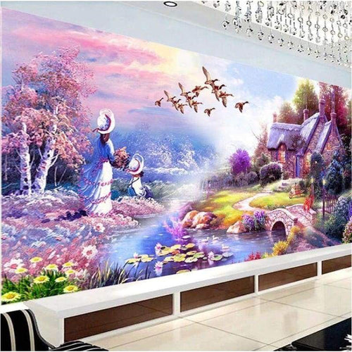 5D DIY Diamond Painting Kits Purple Garden Cottages - L2.5